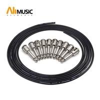 ALLMusic DIY Guitar Solder free Pedal Patch Cable Board Copper Cable Kit Set 10ft 10 Strait Audio Solderless 6.35 Mono Plugs