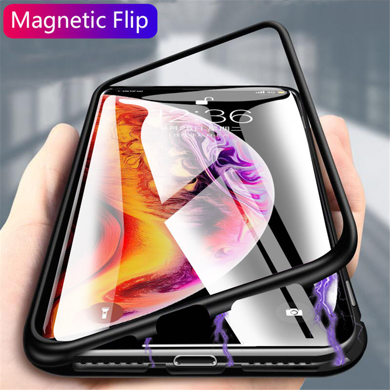 Metal <font><b>Magnetic</b></font> Adsorption Glass <font><b>Case</b></font> For Huawei <font><b>Honor</b></font> 10 Lite Pro Y5 <font><b>8X</b></font> P Smart Z 2019 Phone <font><b>Case</b></font> Cover Capa Coque image
