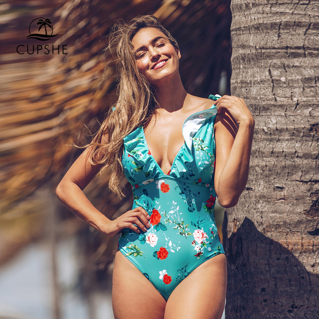 CUPSHE Teal Floral Gekräuselten V ausschnitt Einteiliges Badeanzug Sexy Spitze Up Padded Frauen Monokini 2020 Mädchen Strand Badeanzug bademode