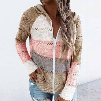 Muyogrt Women Patchwork Striped Sweaters 2020 Autumn Long Sleeve Cardigan Top Ladies Autumn Casual V-Neck Hooded Knitted Sweater twist front v neck striped top