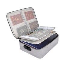 Travel Document Organizer Bag Briefcase Passport A4 File Bill Account Book Folder Storage Bag Password Lock Multi-Layer Handbag