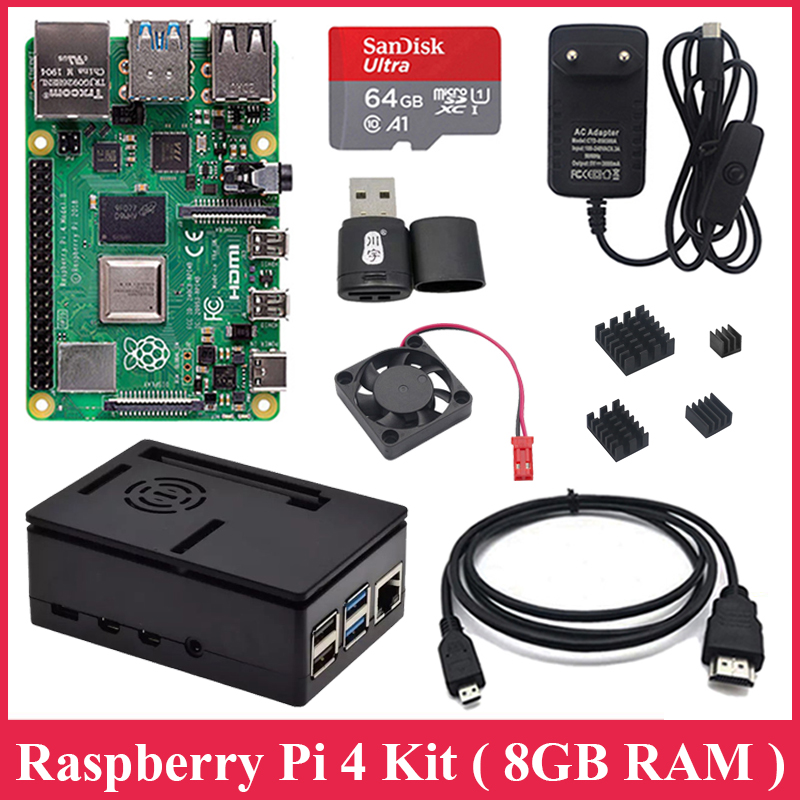 New Arrival Raspberry Pi 4 Model B 8GB RAM 2.4G&5G WiFi Bluetooth 5.0 ABS Case Power Supply Aluminum Heat Sink For RPI 4B 8gb