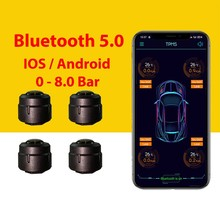 Bluetooth 5.0 TPMS Car Tire Pressure Monitor System With Sensors For iOS Android Mobile Phone APP Monitoring Alarm