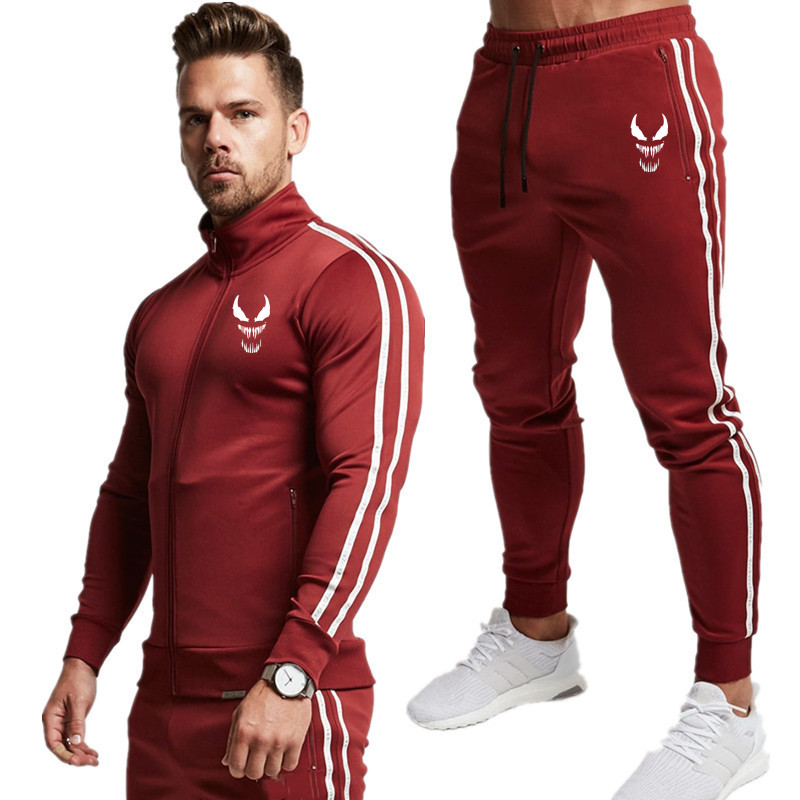 2019 New Zipper Printed Men Set Causal Patchwork Jacket Men 2Pcs Tracksuit Sportswear Hoodies Sweatshirt Pants Suit