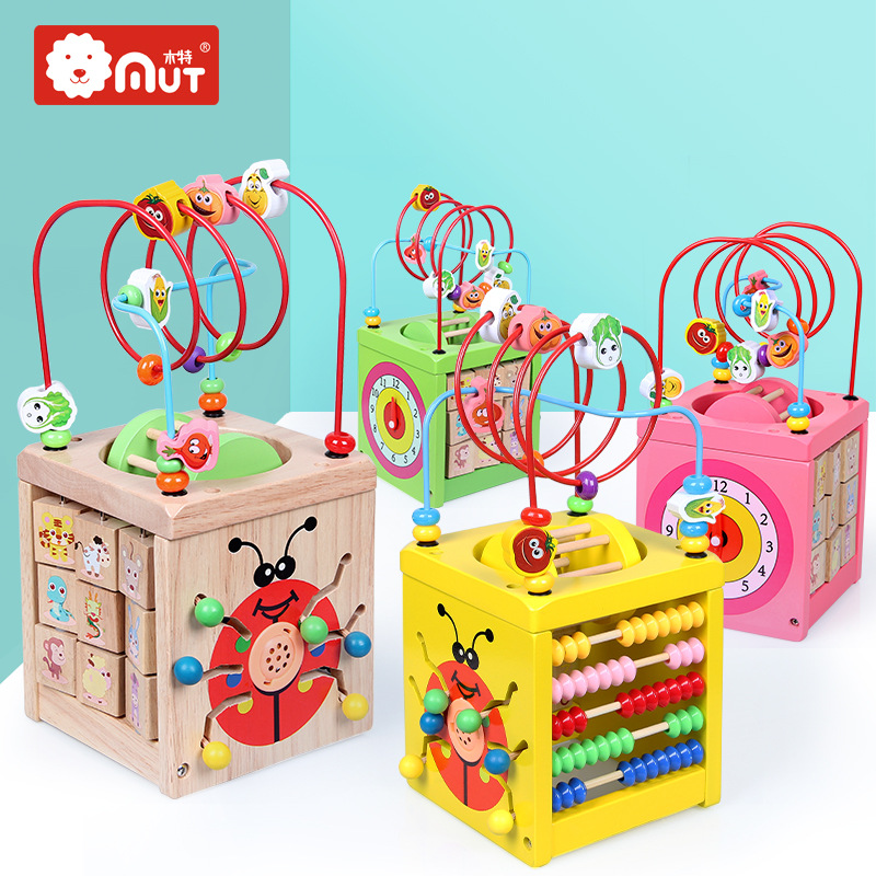 Hi Wood Children Early Education Wooden Quality Bead-stringing Toy Children Multi-functional Bead-stringing Toy Treasure Chest E