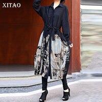 XITAO Print Pattern Bandage Blouse Fashion New Women Pocket 2020 Autumn Minority Full Sleeve Elegant Pleated Loose Shirt DZL1616