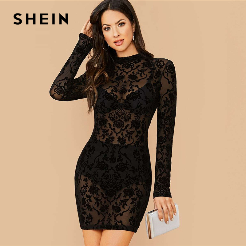 SHEIN Black Floral Print Stand Collar Sexy Bodycon Dress Without Bra Women Spring Long Sleeve Sheer Glamorous Mini Dresses 1