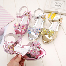 Summer New Girls Sandals Princess Shoe Children  Little Girl Crystal Shoes Fashion Big Small High Heel Student
