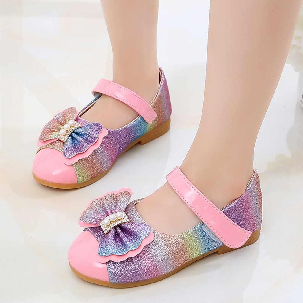 באבו ילדה של פרפר קשת נסיכת נעלי ילדי ילדים בלינג אחת נעלי בנות פרל Bowknot וו רצועת מזדמן שטוח נעליים