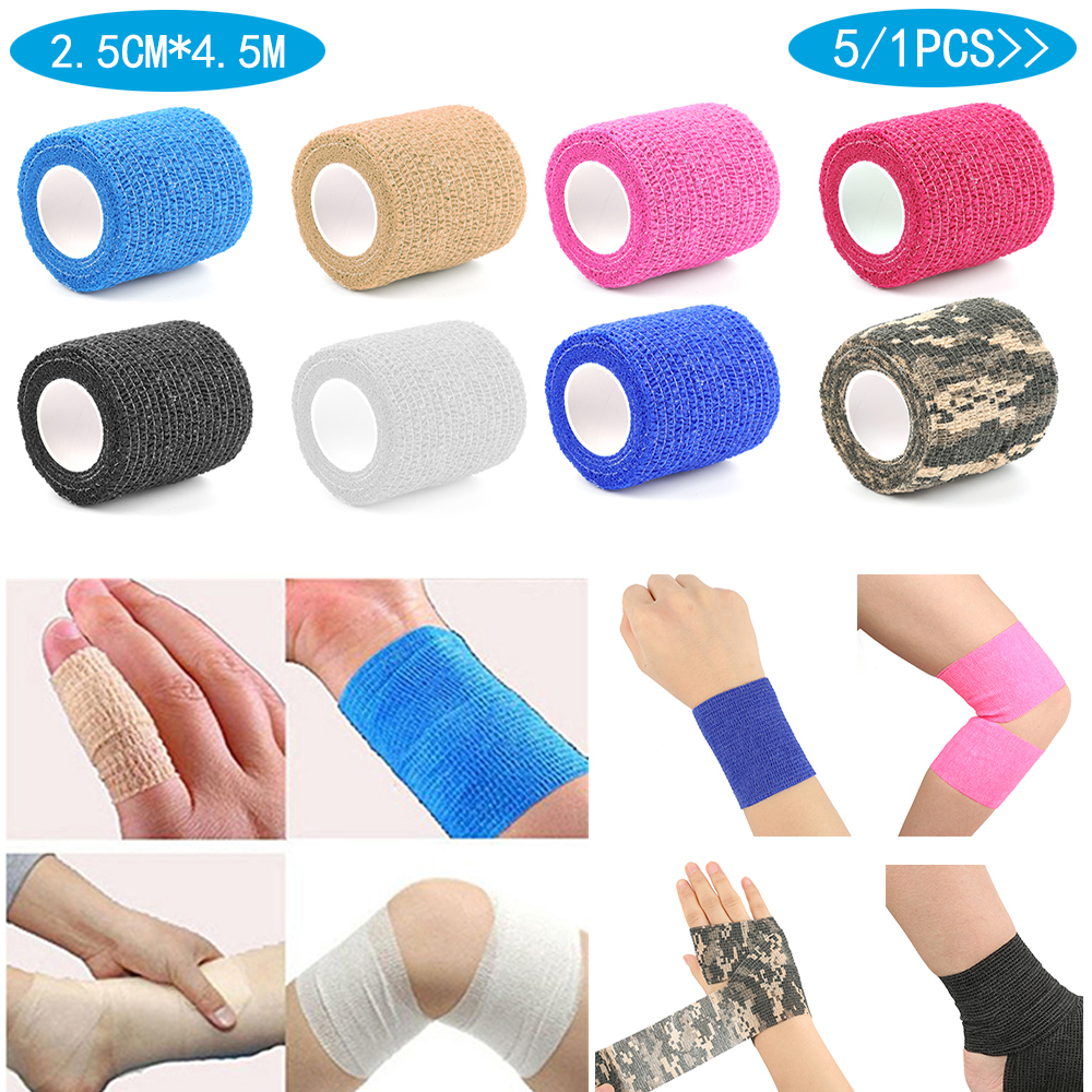5/1PCS Camouflage Bandage First Aid Kit Self-adhesive Sports Body Gauze Vet Medical Tape Security Protection 2.5CM*4.5M