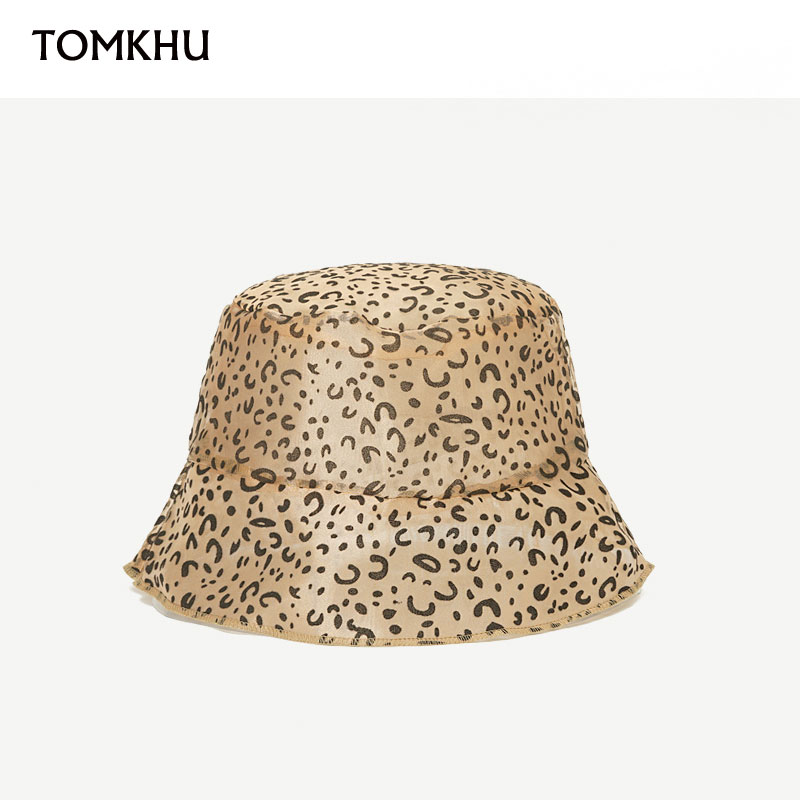 TOMKHU New Lace Leopard Print Bucket Hat Fisherman Outdoor Travel Sun Cap Hats For Women Summer Holiday Quality Organza Hats