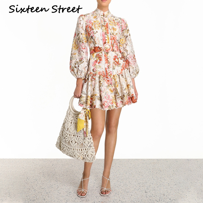 Floral Printed Woman Vintage Dress 2020 New Spring Hollow Out Lantern Sleeve Button Elegant Party Dress With Belt Female Cloth