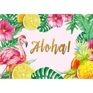 Image 3 - Allenjoy FlamingoวันเกิดPartyฉากหลังTropicalฤดูร้อนสีชมพูฮาวายAloha Jungleเด็กพื้นหลังที่กำหนดเองPhotozone Photocall