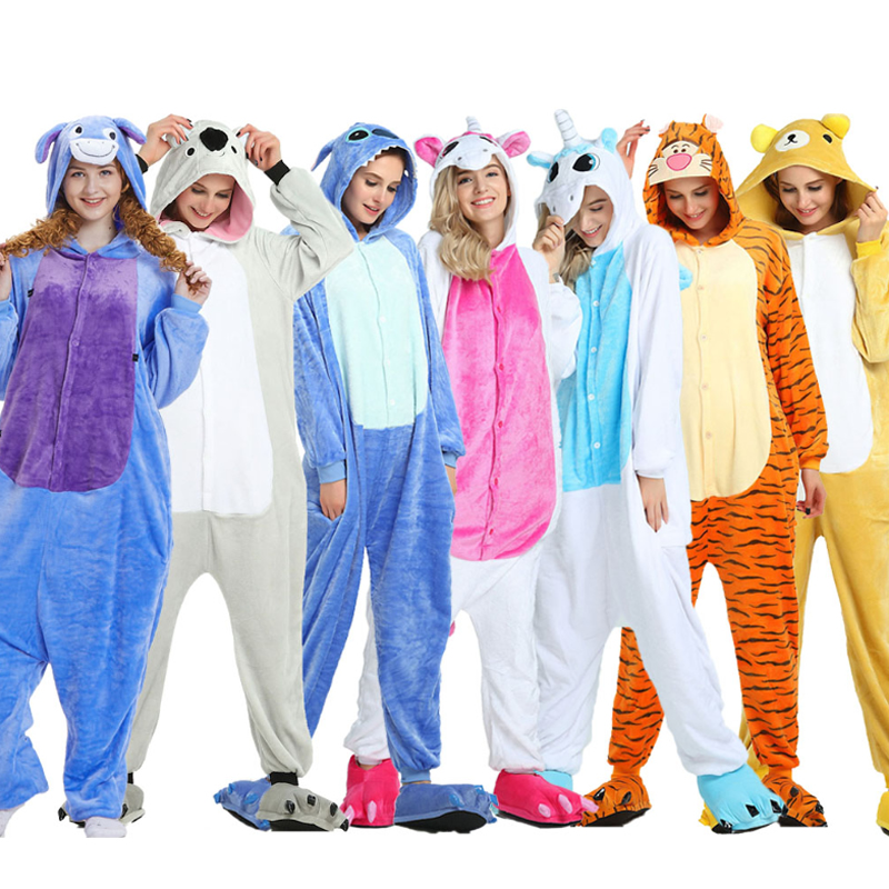 Panda Adults Kigurumi Pajamas Women Flannel Sleepwear Unisex Cute Unicorn Stitch Cartoon Animal Pajama Set Kids Hooded Pyjamas
