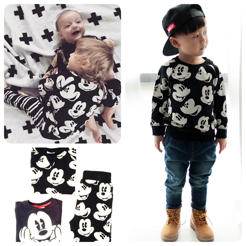 Mickey Children Clothing Set Boys Clothes Toddler Winter Outfits Cotton Mickey Boutique Kids Clothing Stores 2pcs Sports Suits