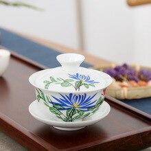 цена на 140ml China Hand Painted Tea Set Teapots High Quality White Porcelain Gaiwan Tea Porcelain Pot Set For Travel Beautiful Tea Pot