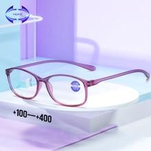 Vcka tr90 óculos de leitura dos homens anti raios azuis presbiopia óculos antifadiga computador eyewear + 1.5 + 2.0 2.5 + 3.0 + 3.5 + 4.0