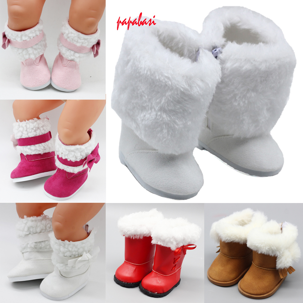 18 Inch Girls Dolls Snow Boots Shoes For 43cm Baby Doll Accessories Baby Doll Winter Chirstmas Shoes
