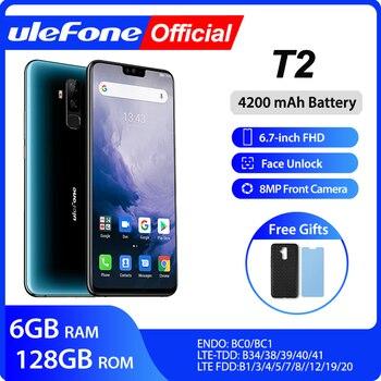 Купить Ulefone T2 Смартфон Android 9,0 Dual 4G сотовый телефон 6 ГБ 128 ГБ NFC Восьмиядерный Helio P70 4200 мАч 6,7 дюймFHD + мобильный телефон Android