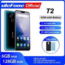 """Ulefone T2 스마트 폰 안드로이드 9.0 듀얼 4G 휴대 전화 6GB 128GB NFC Octa core Helio P70 4200mAh 6.7 """"FHD + 휴대 전화 안드로이드"""