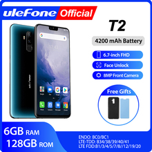 "Ulefone T2 Smartphone Android 9.0 Dual 4G Cell Phone 6GB 128GB NFC Octa core Helio P70 4200mAh 6.7"" FHD+ Mobile Phone Android"