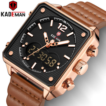 Top Luxury Brand Square Military Sport Watches Men Gold Steel Digital Quartz