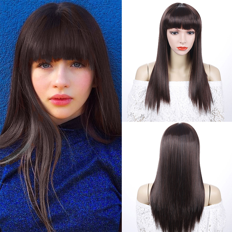 LUPU Brown 22 Inches Long Straight Womens Wigs With Bangs Heat Resistant Synthetic Hair Wigs For Women African American