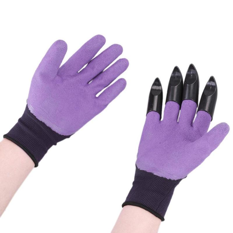 Garden Gloves With Claws For Dig Plant Genie Rubber Gloves Rose Planting Pruning Hand Claw For Digging Gardening Tool