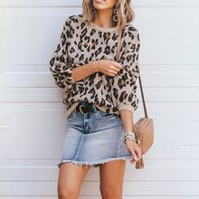 Women's Lantern Sleeve Camouflage Leopard Sweater 2019 New Jacquard Fashion Round Neck Solid Color Sweater round neck solid color stylish long sleeve men s sweater