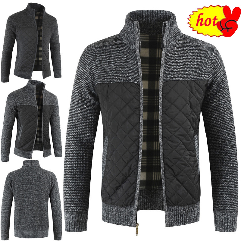 Winter Dropshipping Autumn Sweater Men Solid Patchwork Thick Fleece Cardigan Men Casual Stand Color Sweater Men Coats
