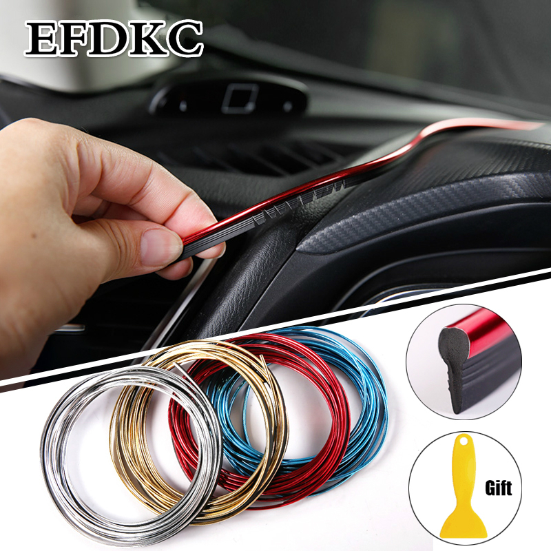 Car Styling Universal DIY Flexible Interior Moulding Trim Strips Car Accessories Decoration Strip Dashboard Mouldings Car Strip