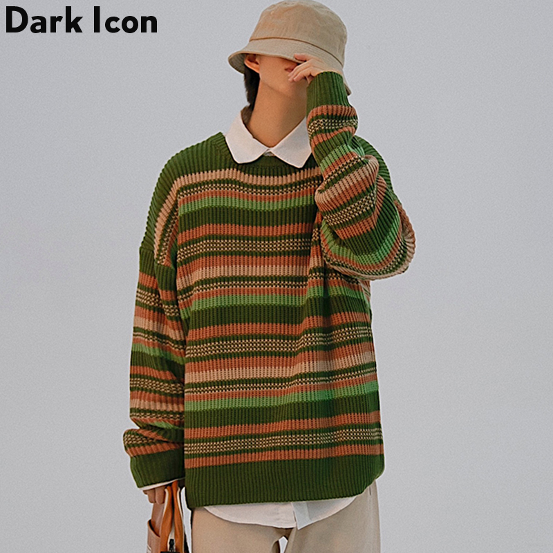 Dark Icon Pullover Striped Men's Sweaters Crew Neck Fashoion Street Hip Hop Sweater Man Streetwear Clothing