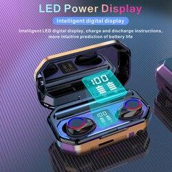 M12 Bluetooth наушники-вкладыши TWS с Многофункциональный Беспроводной гарнитура светодиодный Мощность Дисплей наушники с функцией фонарика науш...
