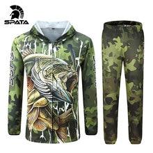 SPATA New BASS Fishing t Shirts Anti UV Sun Protection Long Sleeve Men Breathable Camouflage Fishing Sets Shirt Clothing Clothes