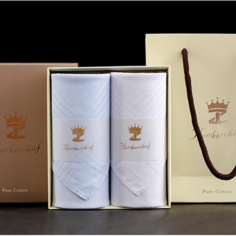 White & Blue Handkerchiefs Cotton Women And Men Handkerchiefs With Gif Box