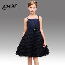 Платья с цветочным узором для девочек темно синие элегантные