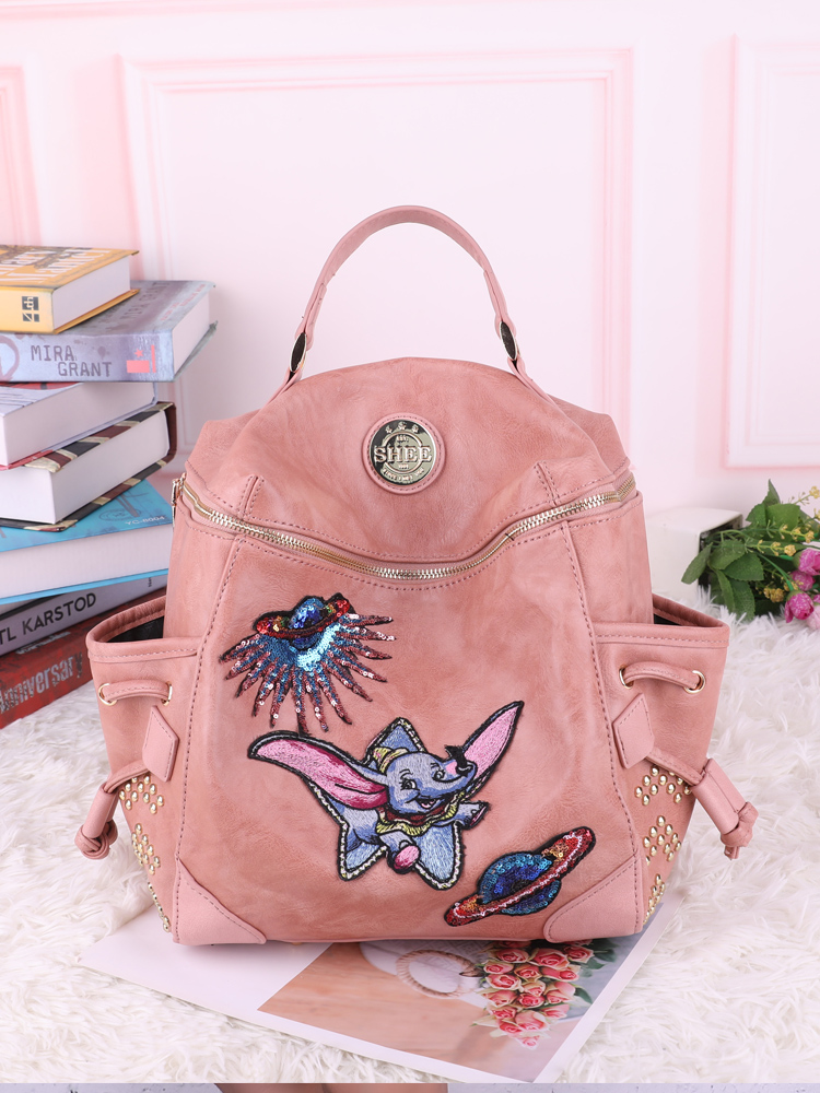 SHEE Dumbo Women's Backpack Student Backpack Fashion Embroidery Badges  Lady Travel Bag  High Quality Large Capacity School Bag