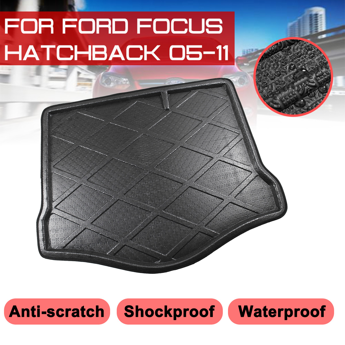 Car Rear Trunk Boot Mat For Ford Focus Hatchback 2005-2011 Waterproof Floor Mats Carpet Anti Mud Tray Cargo Liner