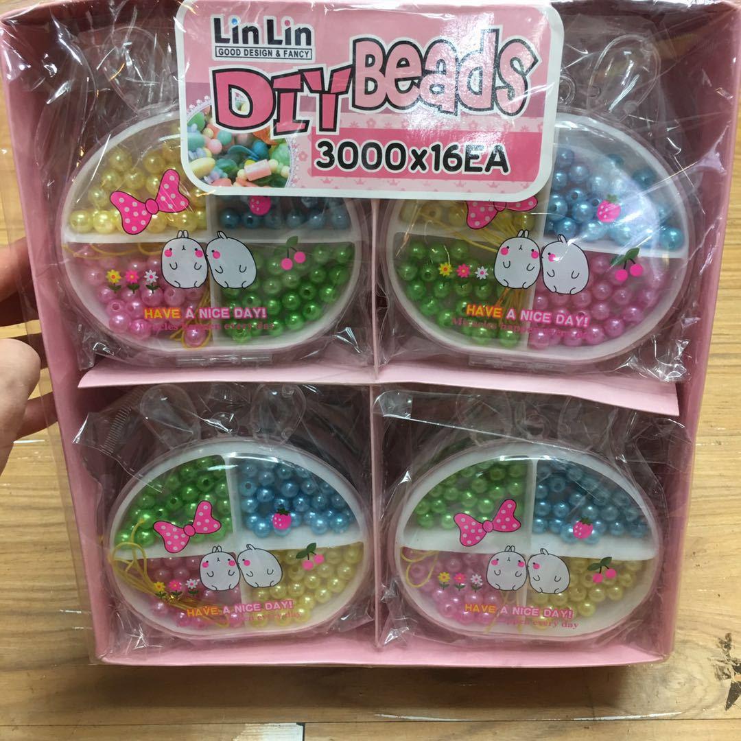 Korean-style Children'S Educational Cartoon Bunny Bear Head Pearl Bead Toy GIRL'S DIY Necklace Bracelets Wear Beads Batch