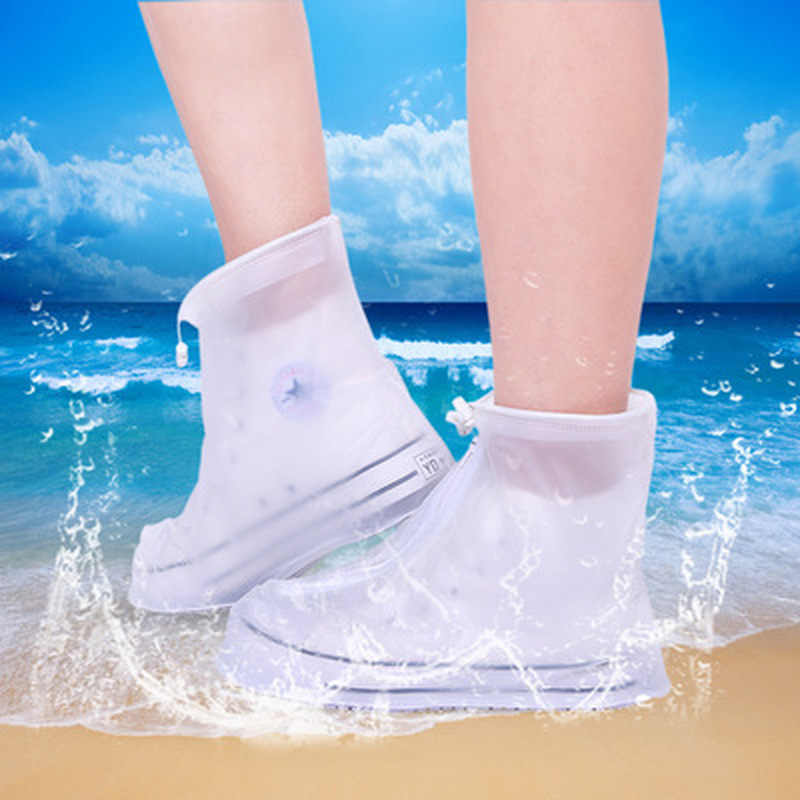 1 Pair Waterproof Protector Shoes Boot Cover Unisex Zipper Rain Shoe Covers High-Top Anti-Slip Rain Shoes Cases