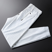 White thin vertical stripes casual pants men's slim-fit men's ice silk trousers with button pockets