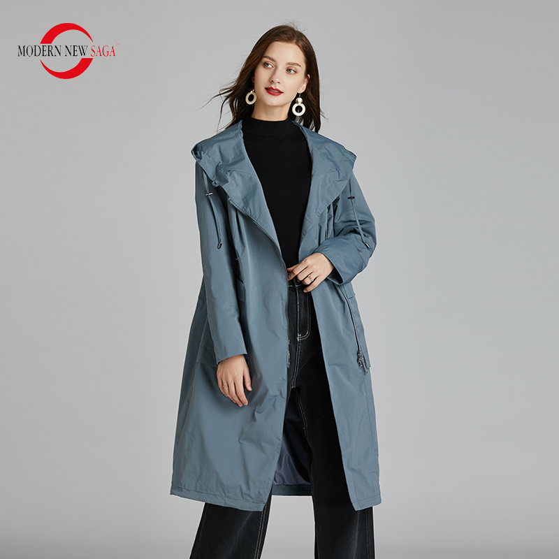 MODERN NEW SAGA 2021 Women Trench Coat Spring Long Coat Hooded Fashion Women Coats Autumn Ladies Windbreaker Pocket Plus Size