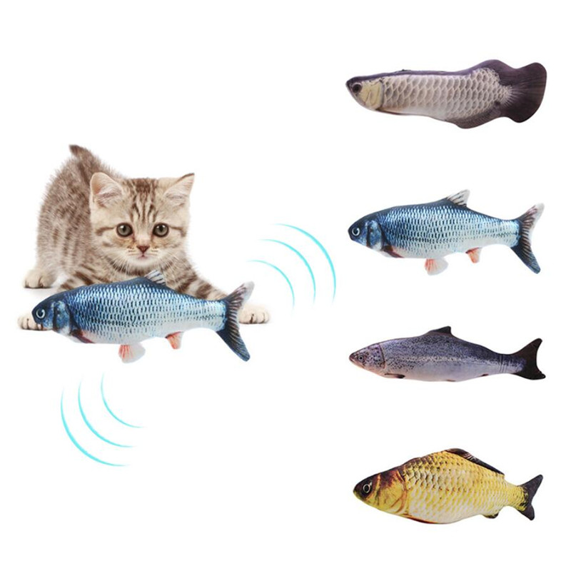 30CM Electronic Pet Cat Toy Electric USB Charging Simulation Fish Toys for Dog Cat Chewing Playing Biting
