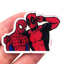 1PCS High Quality Spider Man And Deadpool Acrylic Brooch Cartoon Marvel Avengers Icon Badge Pin For Decoration On T-shirt Scarf(China)
