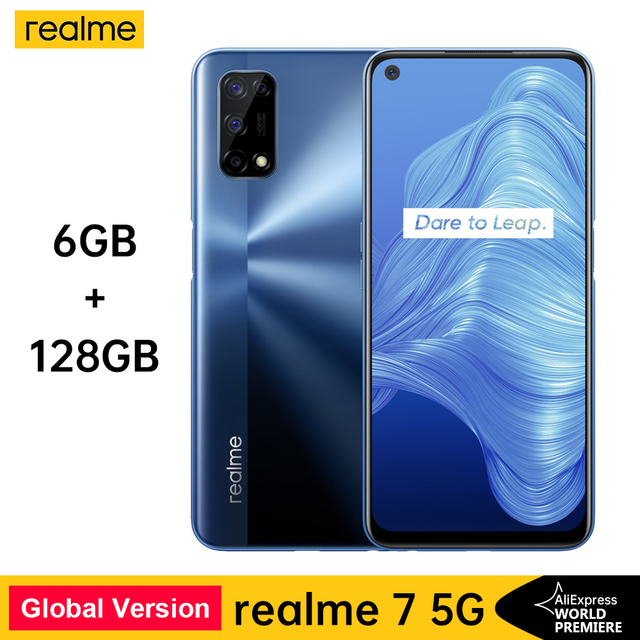 realme 7 5G Dimensity 800U 6 128GB 120Hz 48MP 5000mAh Global Version 30W Dart Charger 48MP Quad Camera 1