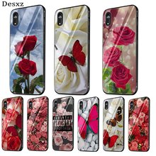 Kaca Case Telepon Glass untuk Apple Iphone 5 5s Se 6 6S 7 7 Plus XR X XS Max Cover Red Butterfly Putih(China)