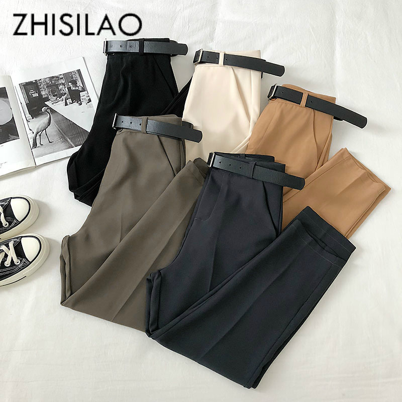 Women Harem Pants High Waist Loose Formal Elegant Office Lady Solid Straight Trousers Ankle-length With Belt Pants Spring Summer