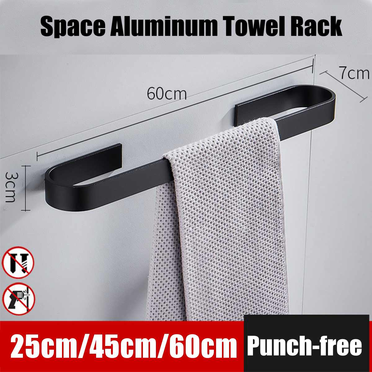 25/45/60cm Towel Bar Black Space Aluminum Wall Mounted Single Washroom Towel Rack Hanging Holder Accessories