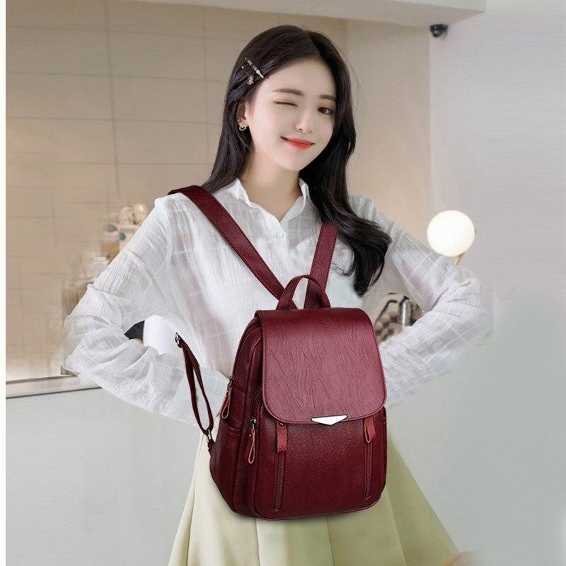 Sac à dos femmes 2019 cuir synthétique polyuréthane noir sac à dos pour femmes anti-vol knapsacks mode sac pour les femmes