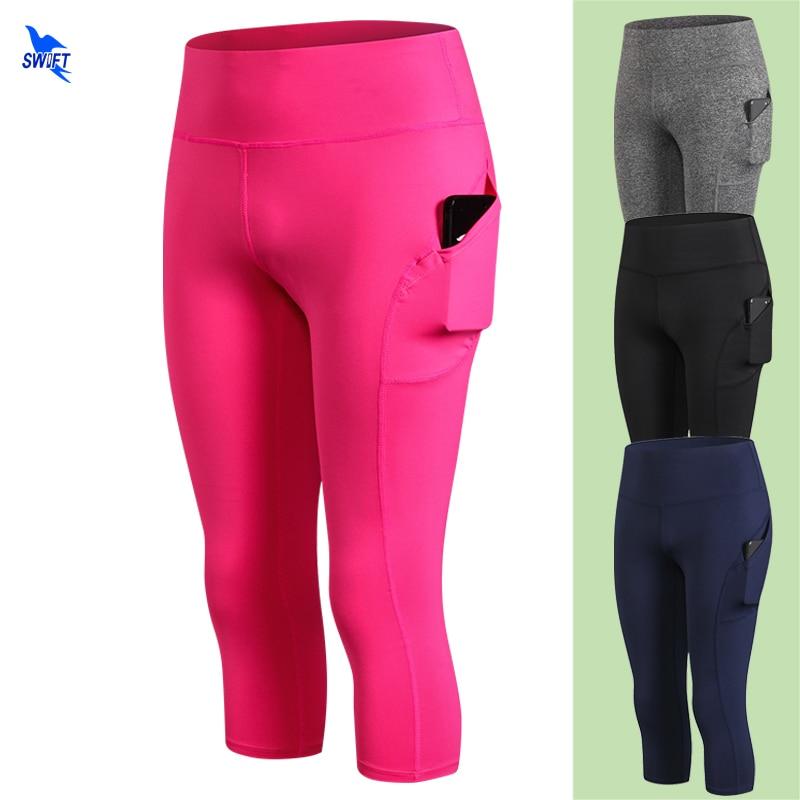 Women/'s 3//4 Leggings Activewear Yoga Fitness Capri Cropped Pants Mesh w// Pockets